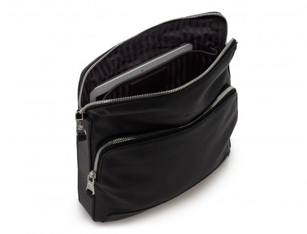 Leather cross body bag black tablet