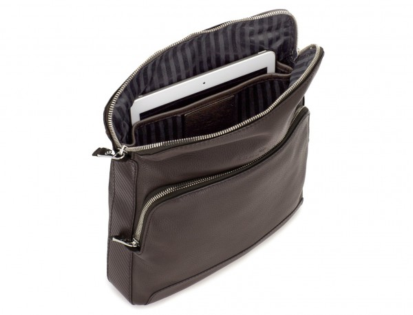 Leather cross body bag brown tablet