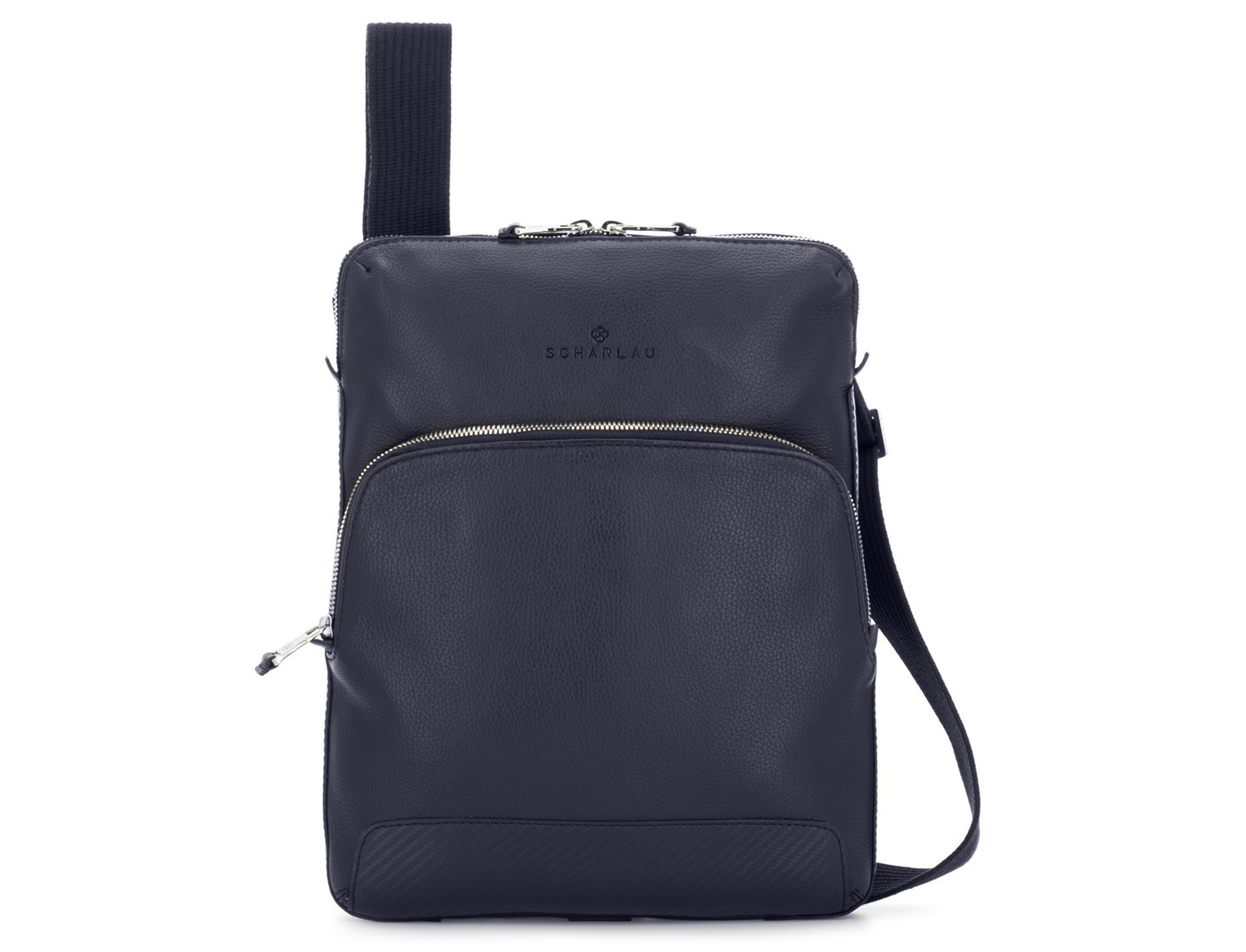 Leather cross body bag blue front