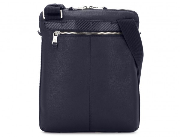 Leather cross body bag blue back