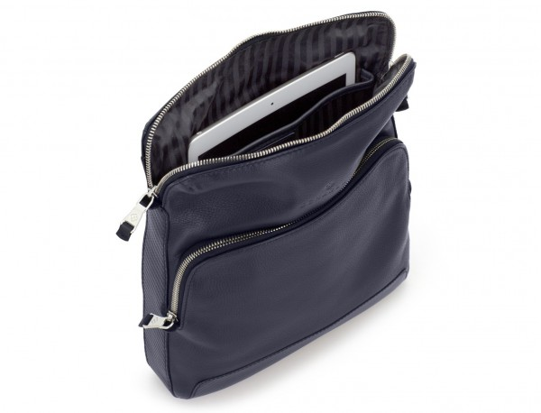Leather cross body bag blue tablet