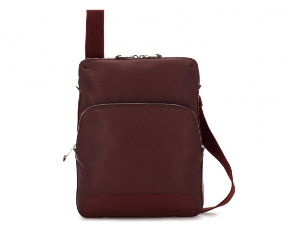 Leather cross body bag burgundy front