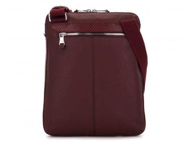 Leather cross body bag burgundy back