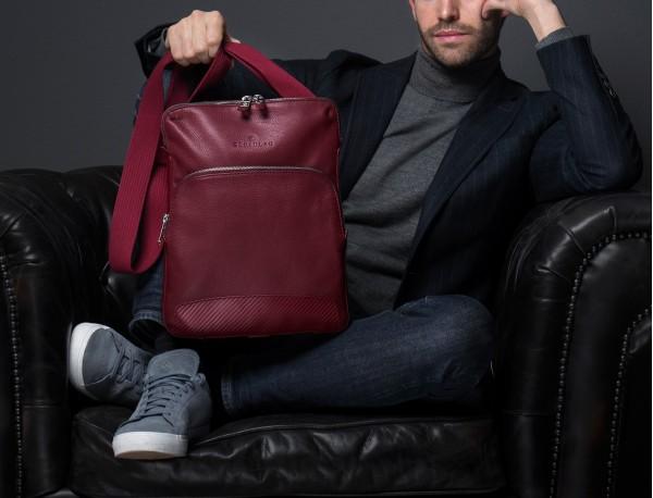 Leather cross body bag burgundy lifestyle
