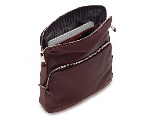 Leather cross body bag burgundy tablet