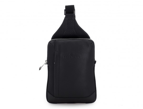 leather mono slim bag in black front