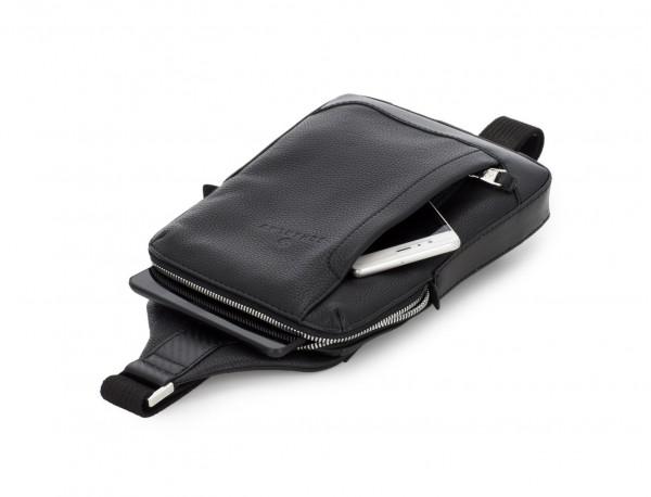 leather mono slim bag in black tablet