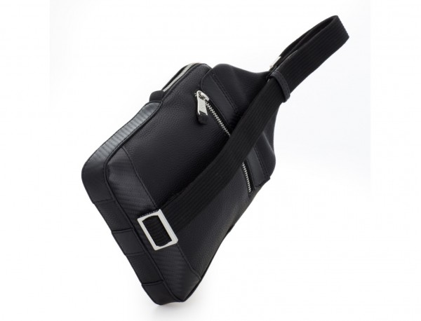 leather mono slim bag in black back