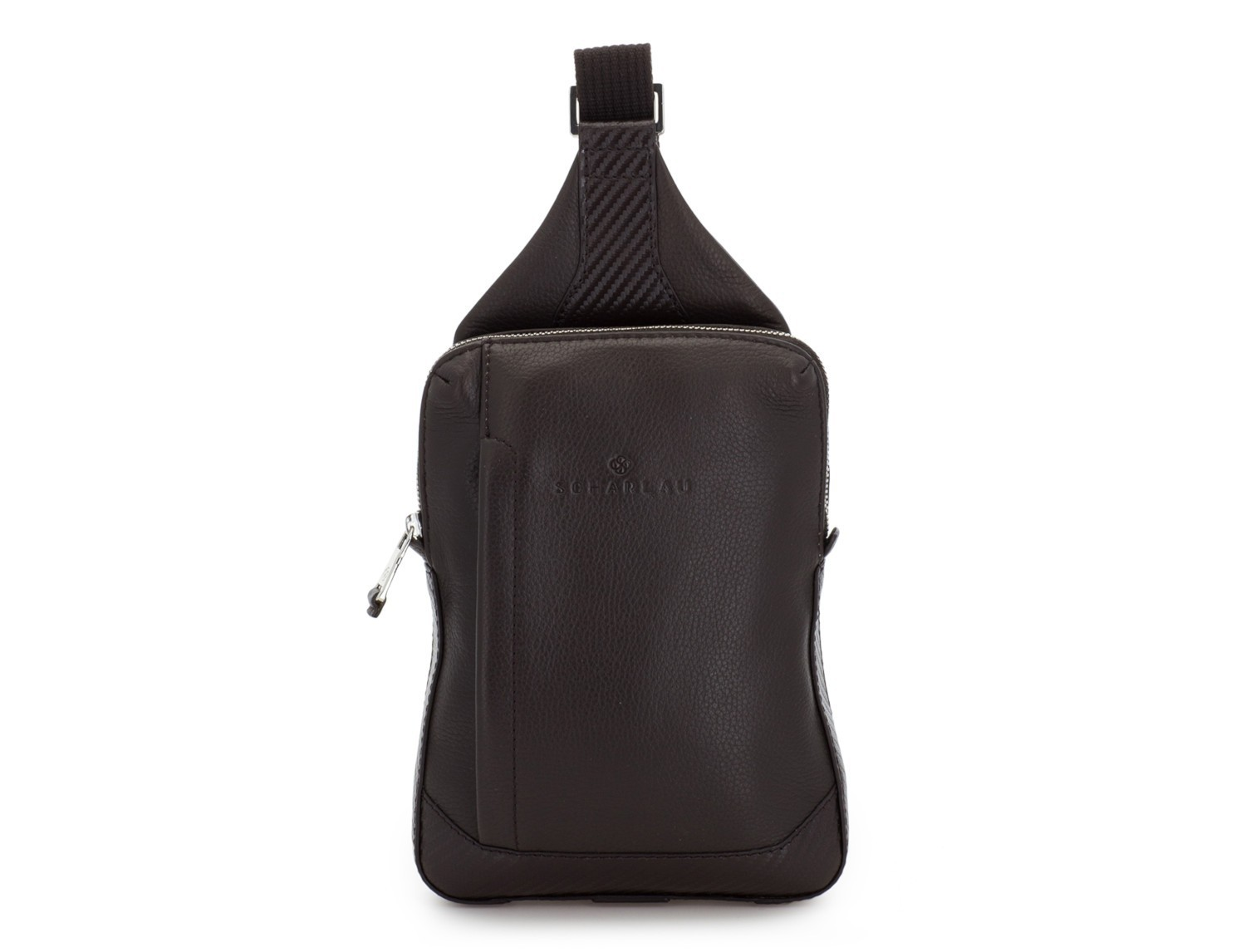 leather mono slim bag in brown front