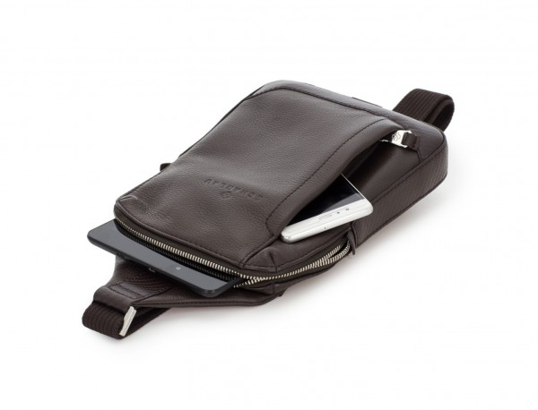 leather mono slim bag in brown side
