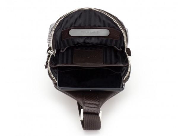 bandolera de cuero marrón personalizada