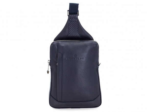 leather mono slim bag in blue front