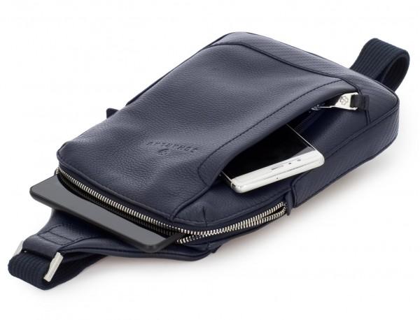 leather mono slim bag in blue side