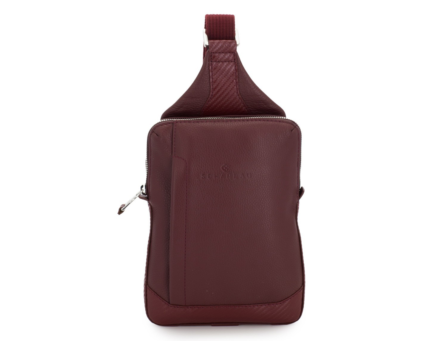 leather mono slim bag in burgundy front