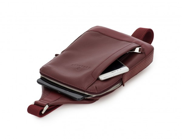 leather mono slim bag in burgundy side
