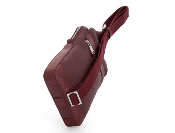 leather mono slim bag in burgundy back