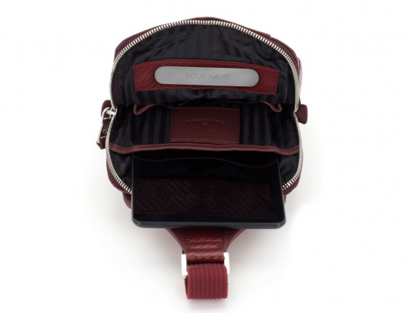 leather mono slim bag in burgundy personalized