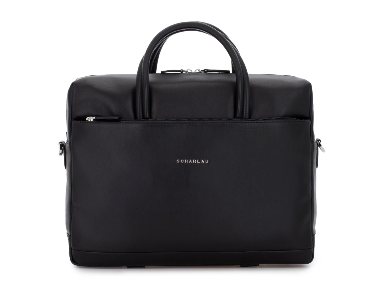 large leather briefbag in black front