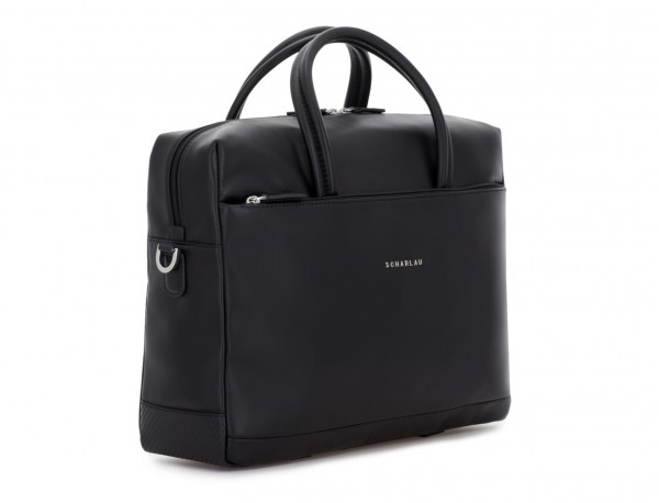 large leather briefbag in black side
