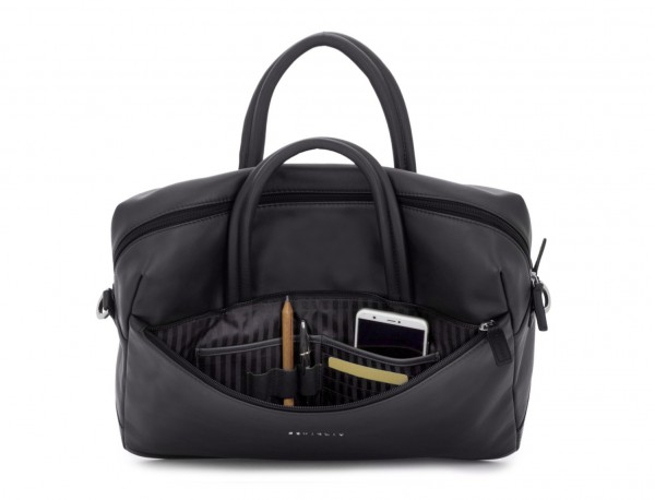 large leather briefbag in black open
