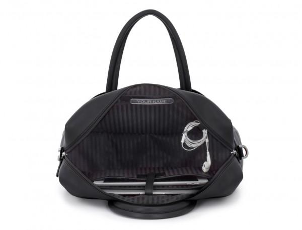 maletín grande de piel negro placa