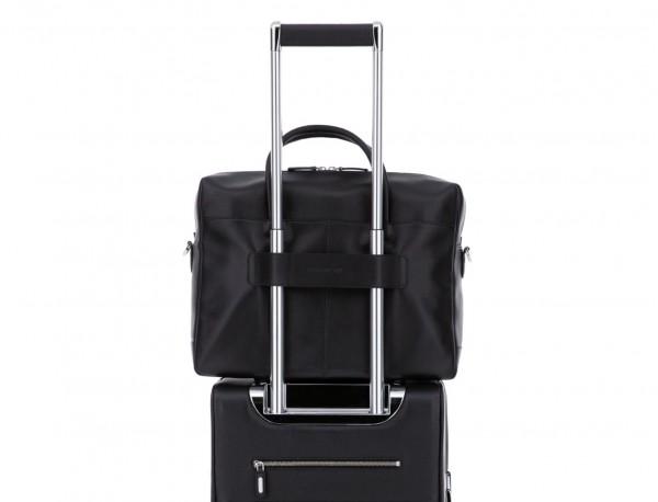 large leather briefbag in black trolley