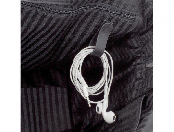 Cartella business grande in pelle nera cables