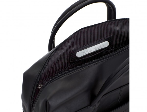 large leather briefbag in black personalized