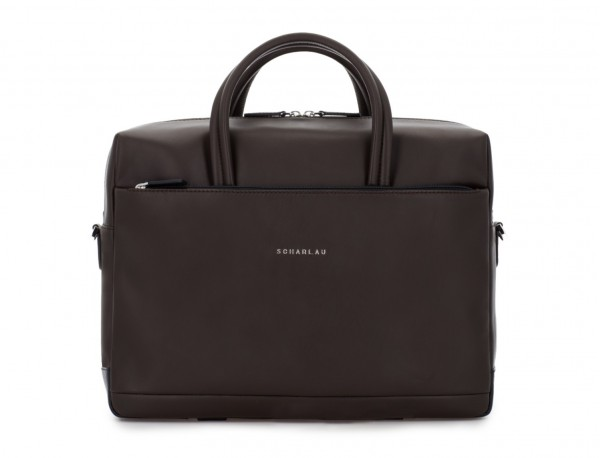 large leather briefbag in brown front