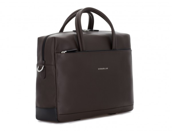 maletín grande de piel marrón lado