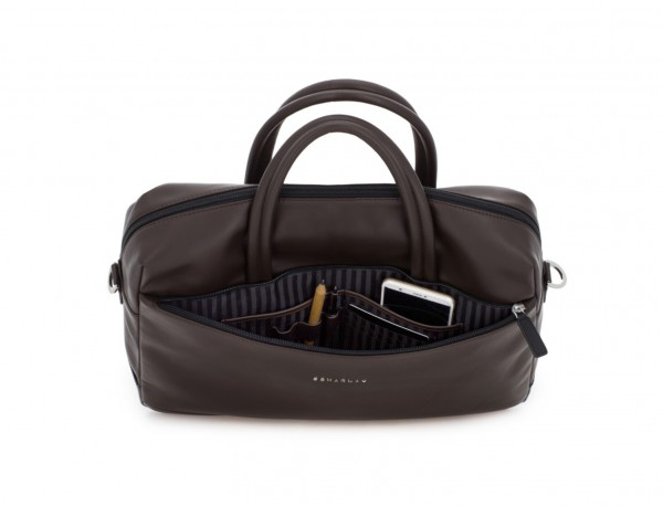 large leather briefbag in brown pockets