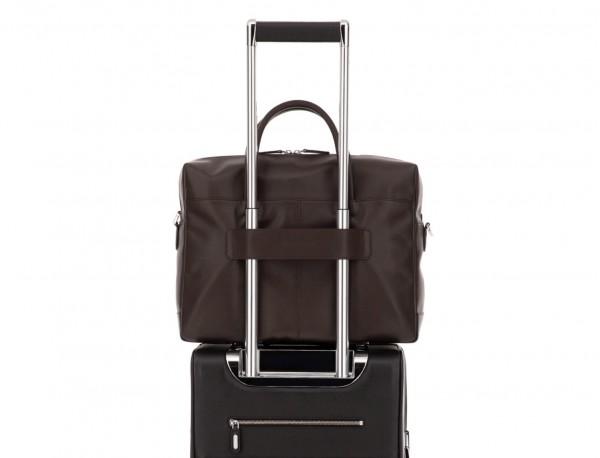large leather briefbag in brown trolley