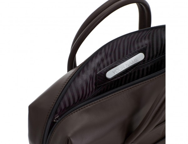 large leather briefbag in brown personalized plate