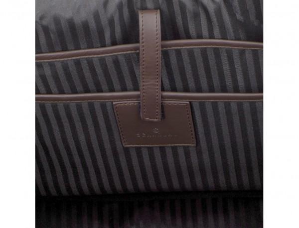 maletín grande de piel marrón interior