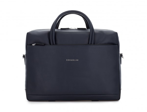 large leather briefbag in blue front