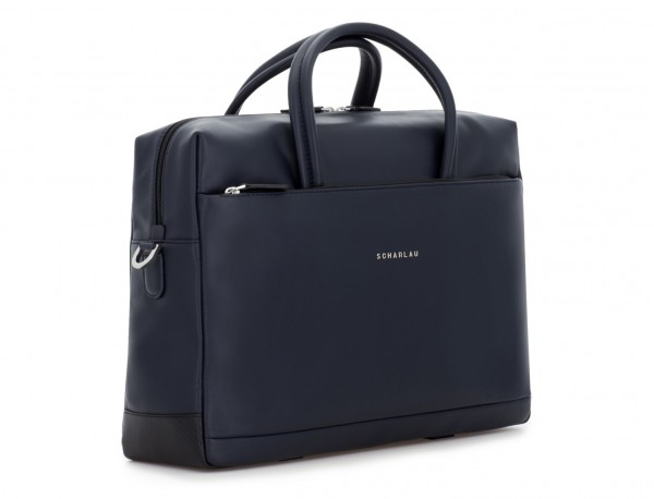 large leather briefbag in blue side