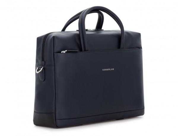 maletín grande de piel azul lateral