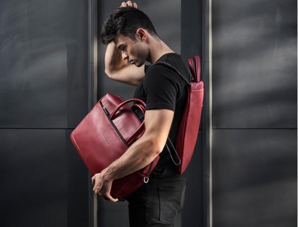 large leather briefbag in blue model