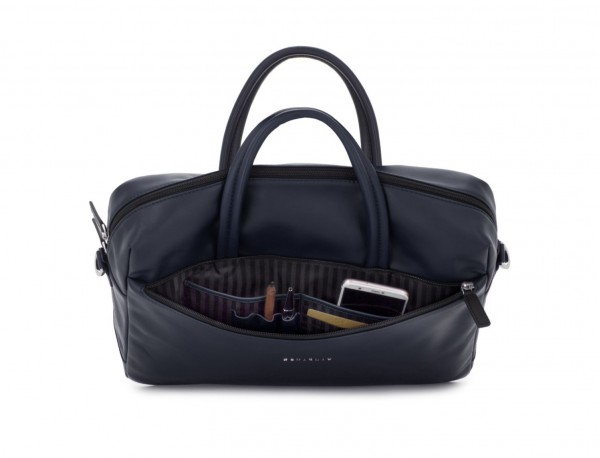 large leather briefbag in blue open
