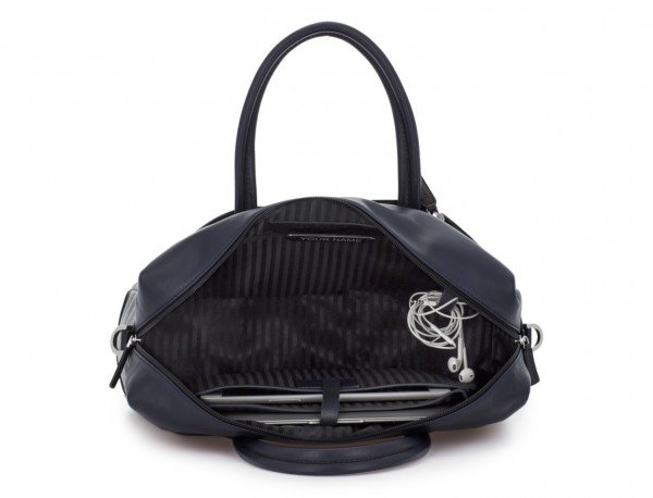 large leather briefbag in blue inside