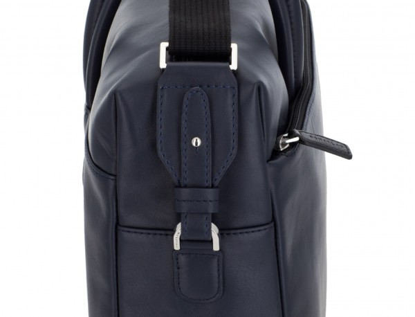 large leather briefbag in blue detail