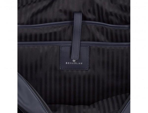Cartella business grande in pelle blu laptop