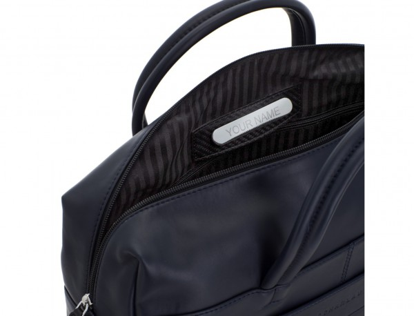 large leather briefbag in blue personalized