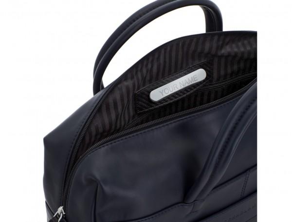 maletín grande de piel azul personalizado
