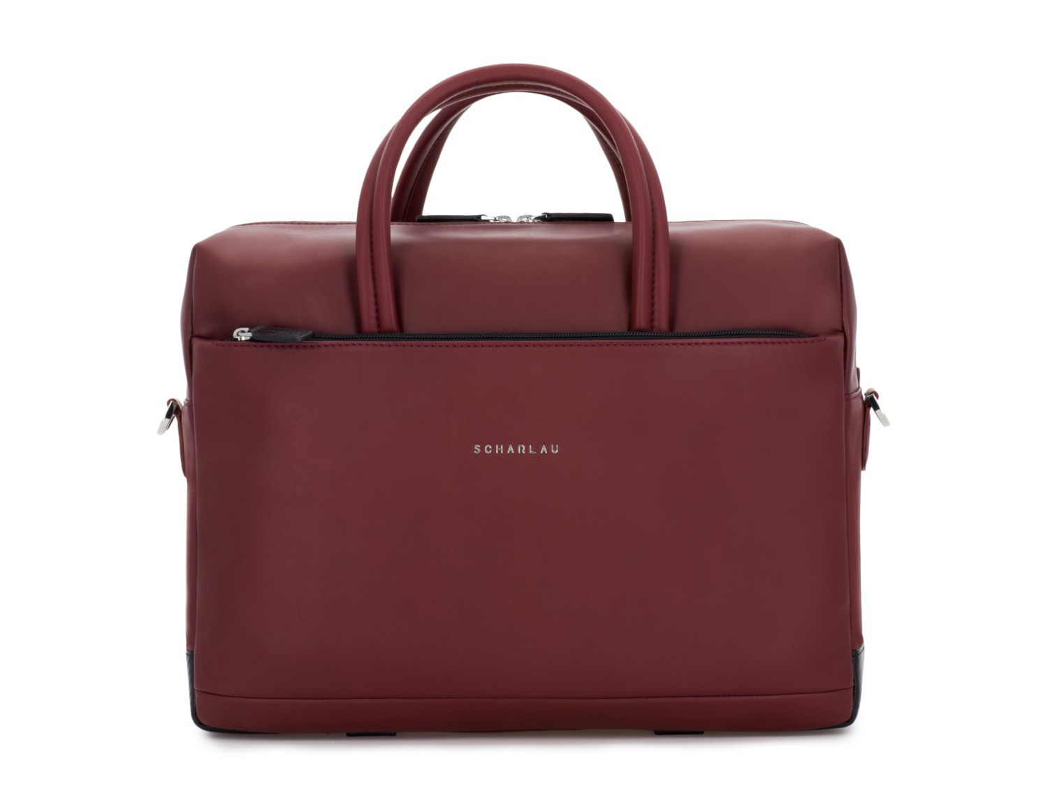large leather briefbag in burgundy front