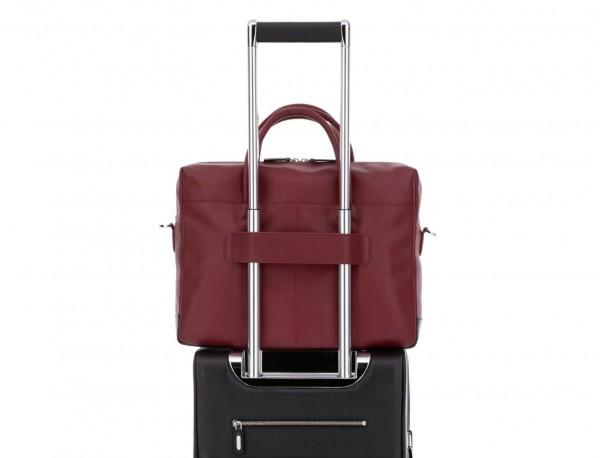 maletín grande de piel burdeos trolley