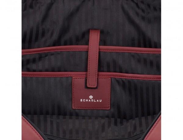 maletín grande de piel burdeos interior