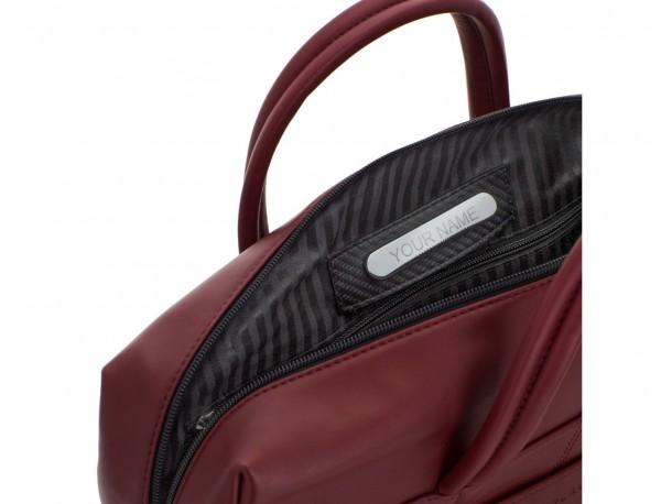 maletín grande de piel burdeos personalizado