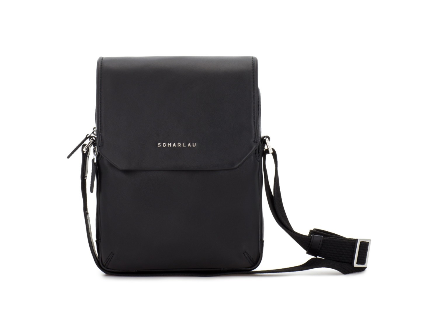Leather crossbody bag with flap in black front