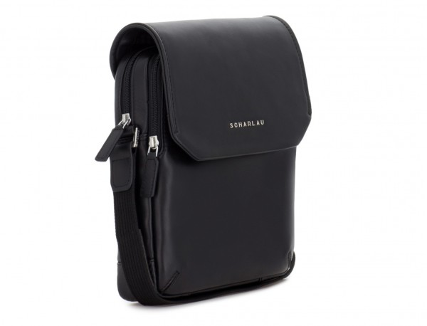 Leather crossbody bag with flap in black side